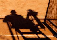 03-09-13,Netherlands, Alphen aan den Rijn,  TEAN, Tennis, Tean International Tennis Tournament 2013, Tean International ,   Shadow of Umpire and net on claycourt<br /> Photo: Henk Koster