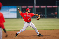 AZL Angels shortstop Nonie Williams (27) makes a throw to first base against the AZL White Sox on August 14, 2017 at Diablo Stadium in Tempe, Arizona. AZL Angels defeated the AZL White Sox 3-2. (Zachary Lucy/Four Seam Images)