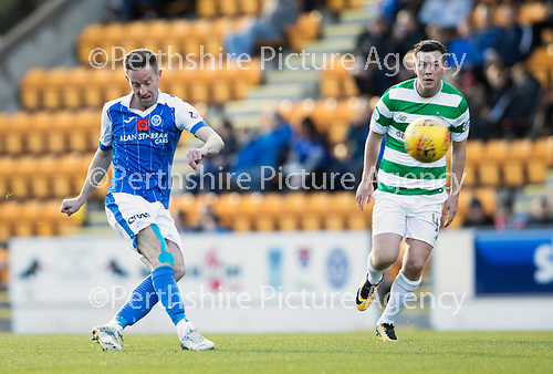 St Johnstone v Celtic…04.11.17…  McDiarmid Park…  SPFL<br />Steven MacLean attempts to lob keeper Craig Gordon<br />Picture by Graeme Hart. <br />Copyright Perthshire Picture Agency<br />Tel: 01738 623350  Mobile: 07990 594431