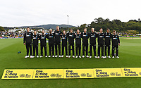 20th March 2021; Dunedin, New Zealand;  NZ team lineup during the national anthems.<br />