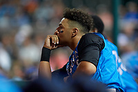 Tampa Tarpons left fielder Tyler Hill (9) in the dugout during a Florida State League game against the Lakeland Flying Tigers on April 5, 2019 at Publix Field at Joker Marchant Stadium in Lakeland, Florida.  Lakeland defeated Tampa 5-3.  (Mike Janes/Four Seam Images)