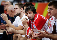 Kosarka FIBA Olympic Basketball Qualifying Tournament-FINAL<br /> Serbia v Puerto Rico<br /> Milos Teodosic (C) Vladimir Stimac (L) and Nikola Jokic (R)<br /> Beograd, 09.07.2016.<br /> foto: Srdjan Stevanovic/Starsportphoto©
