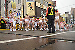 February  20th, 2016, Inazawa, Japan - Participants of the Naked Man festival are carrying a big bamboo pole, wrapped in long pieces of cloth, towards Konomiya Shrine on Saturday, February  20, 2016.<br /> The festival organised by Konomiya Shrine, takes place annually on the 13th day of the new year of the lunar calendar. It is one of the oldest festivals in Japan. Since the old days, the participants are men only, mostly of the ages 24, 42 and 61, which are considered unlucky in Japan. By taking part in the festival they are hoping to avoid the bad luck throughout the coming year. (Photo by Julian Krakowiak/Aflo)