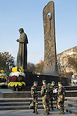 Army conscripts in front of a monument to poet and Ukrainian nationalist hero Taras Shevchenko in the Prospekt Svobody (Freedom Square) in central Lviv.