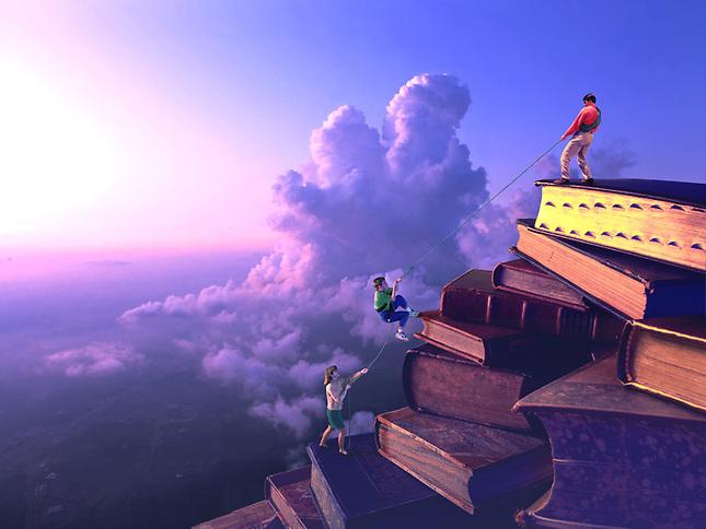 People climbing mountain made of books