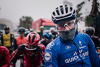 Elia Viviani (ITA/QuickStep Floors) at the race start in torrential rained down Nice<br /> <br /> 76th Paris-Nice 2018<br /> Stage 8: Nice > Nice (110km)
