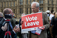 """Sky Tg24.<br /> <br /> London, 15/06/2016. Today, the River Thames outside the Houses of Parliament was the stage of an epic """"naval battle"""" between the """"Brexit Flotilla"""", lead by the UKIP leader Nigel Farage MEP, and the """"In Flotilla"""", lead by the Irish singer-songwriter Bob Geldof KBE. Nigel Farage MEP lead a flotilla of fishing trawlers from Southend in Essex sailing to the River Thames in front of the British Parliament to call for the UK's withdrawal from the EU and to repossess """"our water back"""". The protest and the counter protest were set to coincide with Prime Minister David Cameron question time.<br /> <br /> For more information about the """"Leave the EU"""" campaigns (for Brexit) please click here:  http://leave.eu/ & http://www.voteleavetakecontrol.org/<br /> <br /> For more information about the """"Remain In the EU"""" campaign (to stay in the EU) please click here: http://www.strongerin.co.uk/"""
