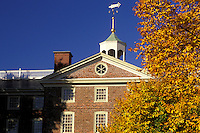 university, Providence, Rhode Island, RI, University Hall on the campus of Brown University in Providence in the fall.