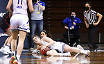 SIOUX FALLS, SD - MARCH 6: Paiton Burckhard #33 of the South Dakota State Jackrabbits battles for a loose ball with Mariah Murdie #33 of the Omaha Mavericks during the Summit League Basketball Tournament at the Sanford Pentagon in Sioux Falls, SD. (Photo by Richard Carlson/Inertia)