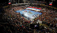 SERBIA, Belgrade: General overview of Belgrade Arena during Women's World Handball Championship final match between Brazil and Serbia in Belgrade, Serbia on Sunday, December 22, 2013. (credit image & photo: Pedja Milosavljevic / STARSPORT / +318 64 1260 959 / thepedja@gmail.com)
