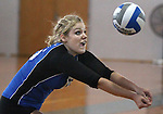 Marymount University's Johanna Hummel plays in college volleyball action at Goucher College in Towson, MD, on Saturday, Oct. 8, 2011..Photo by Cathleen Aliison.