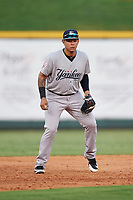 Pulaski Yankees third baseman Nelson Gomez (14) during a game against the Greeneville Reds on July 27, 2018 at Pioneer Park in Tusculum, Tennessee.  Greeneville defeated Pulaski 3-2.  (Mike Janes/Four Seam Images)