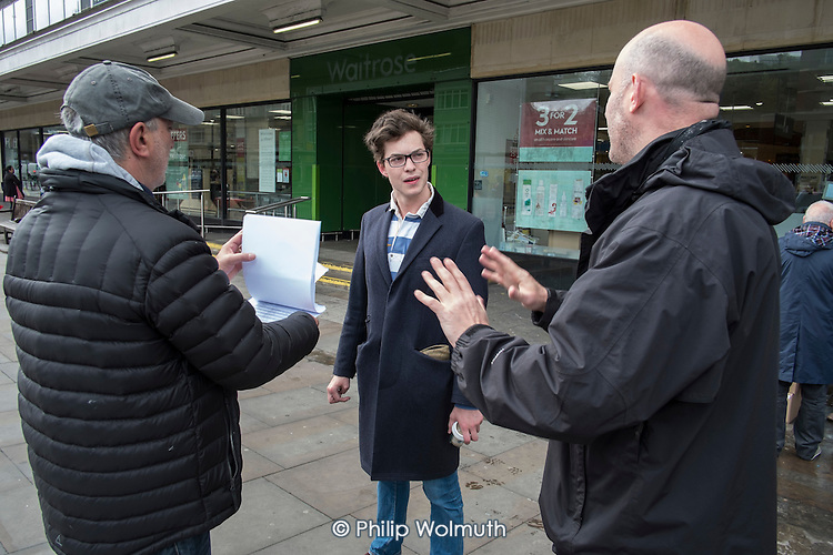 Conservative candidate Simon Marcus talks to a young supporter in Hampstead and Kilburn, the second most marginal constituency in the UK, held by Labour with a majority of 42 at the 2010 general election.