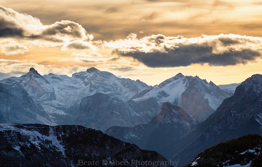 Sunset viewed from Rifugio Locatelli, Dolomites, Italy
