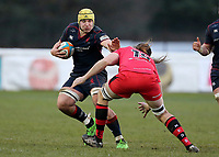 James Tyas of London Scottish blocks during the Greene King IPA Championship match between London Scottish Football Club and Jersey at Richmond Athletic Ground, Richmond, United Kingdom on 16 December 2017. Photo by Mark Kerton / PRiME Media Images.