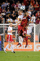 Teemu Tainio (2) of the New York Red Bulls and Collen Warner (26) of Real Salt Lake. Real Salt Lake defeated the New York Red Bulls 3-1 during a Major League Soccer (MLS) match at Red Bull Arena in Harrison, NJ, on September 21, 2011.