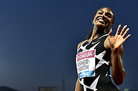 Dina Asher-Smith of Great Britain reacts after winning the 200m Women during the Wanda  Diamond League Golden Gala meeting at the Luigi Ridolfi stadium in Florence, Italy, June 10th, 2021. Photo Andrea Staccioli / Insidefoto