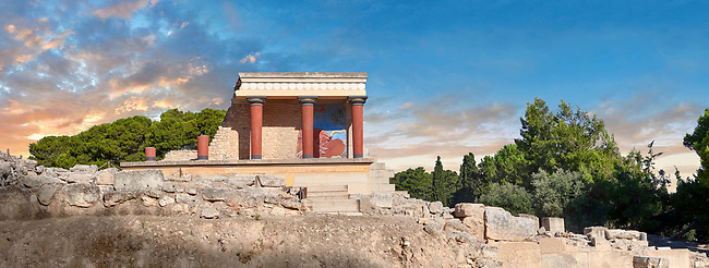 Panoroana of Minoan of the North Entrance Propylaeum with its painted charging  bull releif,  Knossos Palace archaeological site, Crete. At sunset.