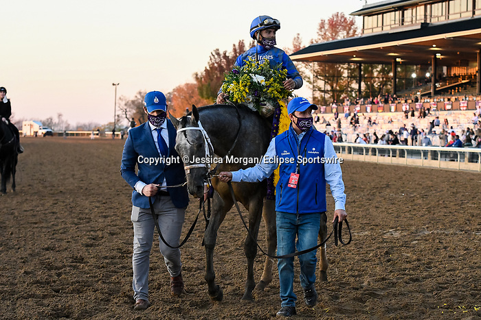 November 6, 2020: Essential Quality, ridden by Luis Saez, wins the TVG Juvenile Presented By Thoroughbred Aftercare Alliance on Breeders' Cup Championship Friday at Keeneland on November 6, 2020: in Lexington, Kentucky. Jessica Morgan/Breeders' Cup/Eclipse Sportswire/CSM