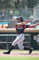 Luis Campusano (4) of the Lake Elsinore Storm bats against the Inland Empire 66ers at San Manuel Stadium on June 5, 2019 in San Bernardino, California. (Larry Goren/Four Seam Images)