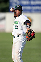 June 27th 2008:  Catcher Miguel Fermin of the Jamestown Jammers, Class-A affiliate of the Florida Marlins, during a game at Russell Diethrick Park in Jamestown, NY.  Photo by:  Mike Janes/Four Seam Images