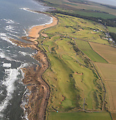 Aerial images of Kingsbarns Golf Links taken on a flight in an AgustaWestland AW139 helicopter - taken through the windows: Picture Stuart Adams. www.golftourimages.com: 25th September 2013