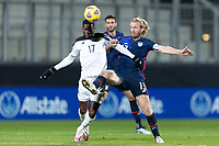WIENER NEUSTADT, AUSTRIA - : Tim Ream #13 of the United States fights for the ball with #17 Jose Fajardo during a game between  at Stadion Wiener Neustadt on ,  in Wiener Neustadt, Austria.