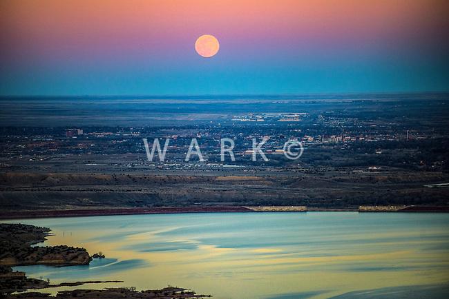 """Worn"" Moon over Lake Pueblo. 2019"