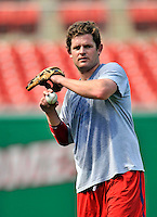 20 June 2008: Washington Nationals' outfielder Austin Kearns, currently on the Disabled List, takes some mid-day practice prior to the first game of their series against the Texas Rangers at Nationals Park in Washington, DC. The Nationals rallied in the eighth to tie, and then win 4-3 in the 14th inning of their inter-league matchup...Mandatory Photo Credit: Ed Wolfstein Photo