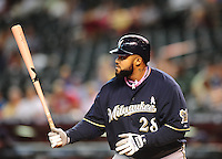 May 9, 2010; Phoenix, AZ, USA; Milwaukee Brewers first baseman Prince Fielder against the Arizona Diamondbacks at Chase Field. Players are wearing pink arm bands and using pink bats in honor of breast cancer awareness and Mothers Day. The Brewers defeated the Diamondbacks 6-1. Mandatory Credit: Mark J. Rebilas-