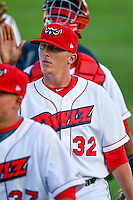 Doug Willey (32) of the Orem Owlz post game against the Grand Junction Rockies in Pioneer League action at Home of the Owlz on July 6, 2016 in Orem, Utah. The Owlz defeated the Rockies 9-1 in Game 1 of the double header.   (Stephen Smith/Four Seam Images)