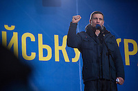 Vitali Klitschko - Ukrainian professional boxer and the reigning WBC heavyweight champion. He is leader of the political party Ukrainian Democratic Alliance for Reform. Seing  on the stage during public protest at European square in Kiev, Ukraine. Thousands of people are continuing to express their support to european integration and protesting against decision of Ukrainian government to refuse signing of association with EU in Vilnius.