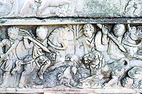 Greek Art:  Sarcophagus-- Lion-hunting bas relief, Ostia.  Photo '83.