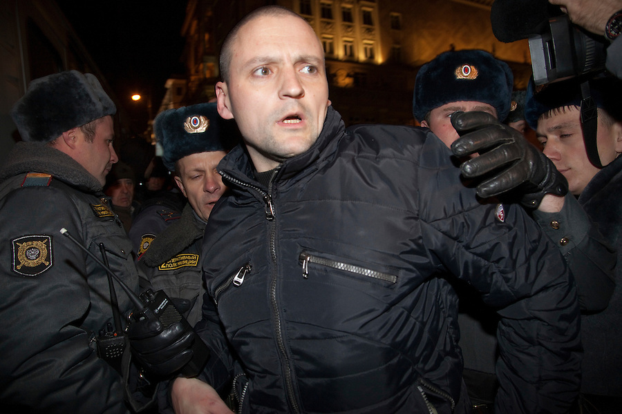 Moscow, Russia, 31/10/2010..Police seize Left Front leader and opposition organiser Sergey Udaltsov as he arrives at the first Strategy 31 anti-government demonstration to be permitted after all previous such demonstrations were broken up by police. Opposition activists hold regular demonstrations on the 31st day of the month, protesting against restrictions on the freedom of assembly, which is protected by article number 31 of the Russian constitution.