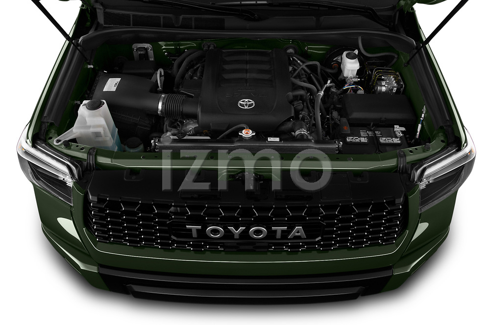 Car Stock 2020 Toyota Tundra TRD-Pro 4 Door Pick-up Engine  high angle detail view