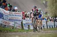 Koppenbergcross 2013<br /> <br /> Gabby Day-Durrin (GBR) on the famous Koppenberg cobbles