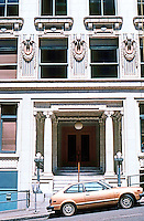 Seattle: Arctic Building, detail. Note: walrus heads. This was the home of the Arctic Club.  Photo '86.
