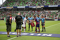 AUSTIN, TX - JULY 29: Sebastian Lletget #17 of the United States during the coin toss during a game between Qatar and USMNT at Q2 Stadium on July 29, 2021 in Austin, Texas.