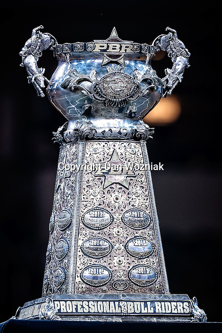 The PBR trophy waits for the winner during the Choctaw Casino Resort Iron Cowboy VI bull riding event, at the AT & T stadium in Arlington, Texas.