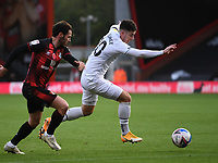 31st October 2020; Vitality Stadium, Bournemouth, Dorset, England; English Football League Championship Football, Bournemouth Athletic versus Derby County; Tom Lawrence of Derby County competes for the ball with Adam Smith of Bournemouth