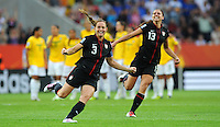 Christie Rampone (l) and Alex Morgan react at the penalty shootout during the FIFA Women's World Cup at the FIFA Stadium in Dresden, Germany on July 10th, 2011.