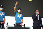 Alejandro Valverde (ESP) Movistar Team on stage at the team presentation before the Tour de France 2020, Nice, France. 27th August 2020.<br /> Picture: ASO/Thomas Maheux | Cyclefile<br /> All photos usage must carry mandatory copyright credit (© Cyclefile | ASO/Thomas Maheux)