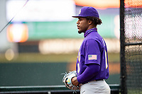 LSU Tigers starting pitcher Jaden Hill (0) warms up in the bullpen prior to the game against the Tennessee Volunteers on Robert M. Lindsay Field at Lindsey Nelson Stadium on March 27, 2021, in Knoxville, Tennessee. (Danny Parker/Four Seam Images)