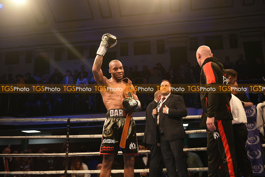 MTK Global Boxing Promoter Lee Eaton (C) celebrates with Daniel Egbunike during a Boxing Show at York Hall on 9th November 2019