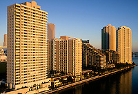 condominiums on Brickell Key, aerial, Miami, FL