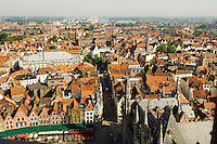 Belgium, Bruges, View of town from Belfry tower