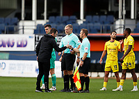 3rd October 2020; Kenilworth Road, Luton, Bedfordshire, England; English Football League Championship Football, Luton Town versus Wycombe Wanderers; Luton Town Manager Nathan Jones gives a fist bump to Assistant Referee Henry Lennard after the final whistle