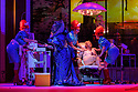 """EMBARGOED UNTIL 23:00 FRIDAY 18 OCTOBER 2019: London, UK. 16.10.2019.  English National Opera presents """"The Mask of Orpheus"""", by Sir Harrison Birthwhistle, libretto by Peter Zinovieff, at the London Coliseum, in its first London restaging in the 30 years since its premiere, coinciding with the celebration of Sir Harrison's 85th birthday. Directed by Daniel Kramer, with lighting design by Peter Mumford, set design by Lizzie Clachan and costume design by Daniel Lismore. Picture shows: Charlotte Shaw (First Woman), Claire Barnett-Jones (Eurydice the Myth), Peter Hoare (Orpheus the Man), Katie Stevenson (Third Woman), Daniel Norman (Orpheus the Myth), Katie Coventry (Second Woman). Photograph © Jane Hobson."""