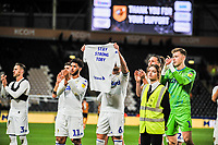 Leeds United in front of the away fans during the Sky Bet Championship match between Hull City and Leeds United at the KC Stadium, Kingston upon Hull, England on 2 October 2018. Photo by Stephen Buckley/PRiME Media Images.