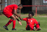 Niran Butler (right) with goalscorer Aaron Layne of Flackwell Heath during the UHLSport Hellenic Premier League match between Flackwell Heath v Tuffley Rovers at Wilks Park, Flackwell Heath, England on 20 April 2019. Photo by Andy Rowland.